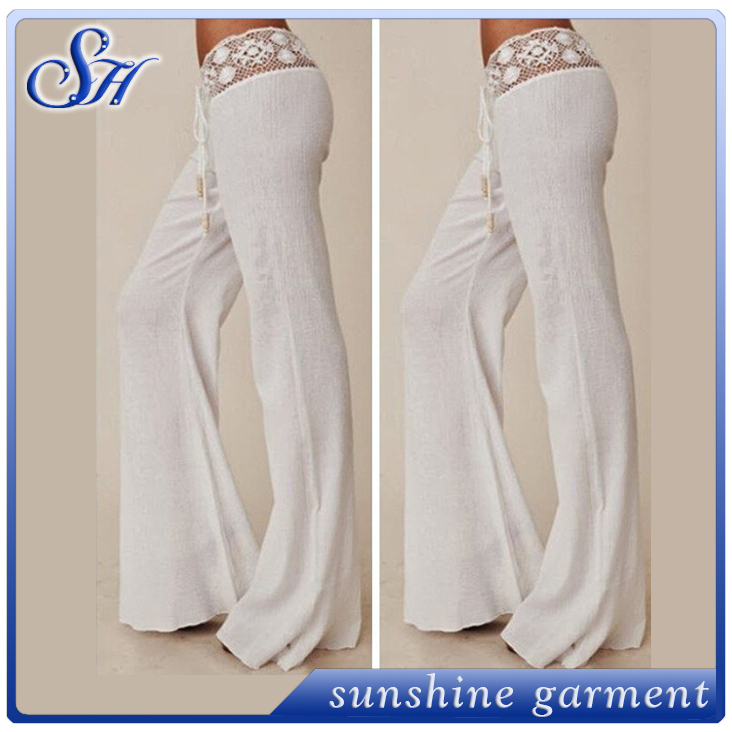 Women white lace high waist pants Ladies wide leg trousers