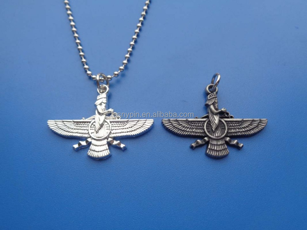 metal embossed logo wing necklace
