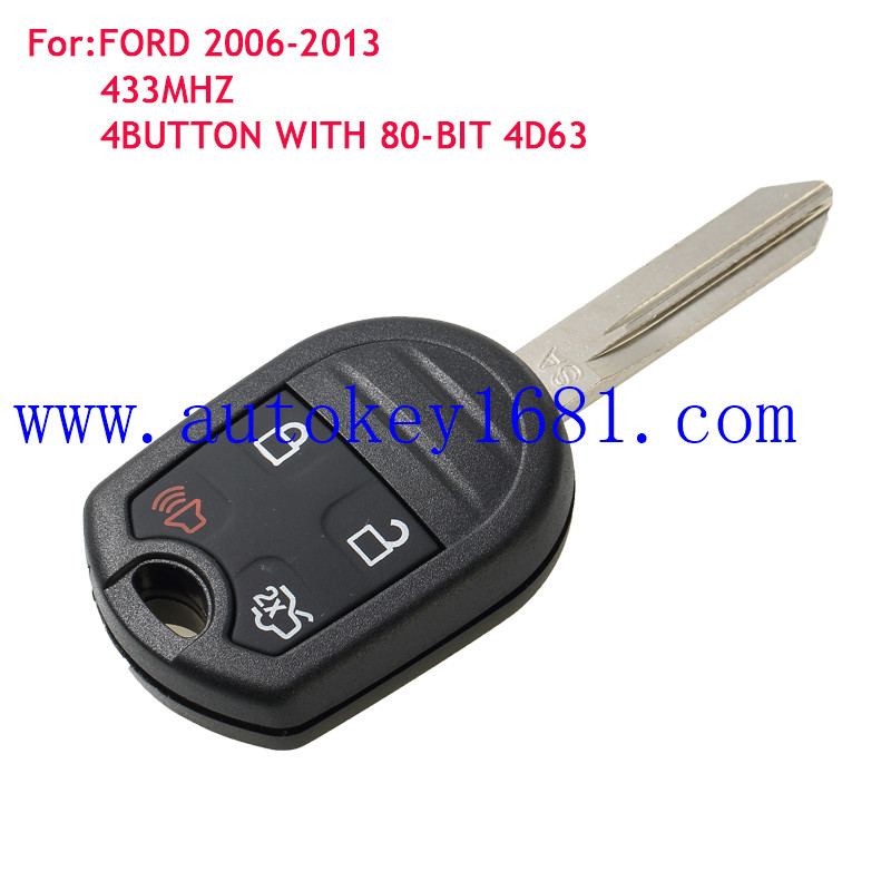 Chave Remoto da Chave do carro Para Ford Mustang boss shellby Borda 4Button315MHZ 433 MHZ FCCID: CWTWB1U793