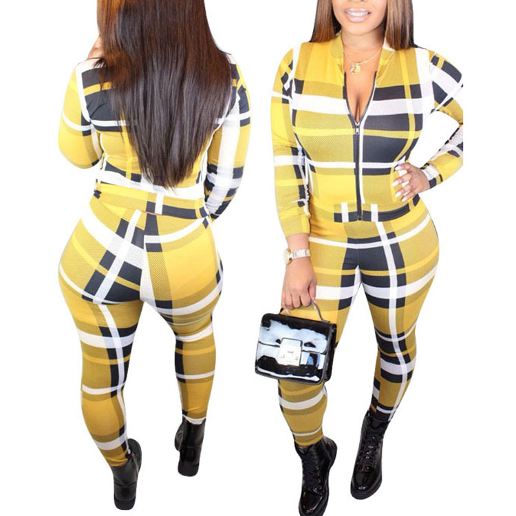 81106-MX3 latest two piece set women clothing plaid print long jumpsuits фото