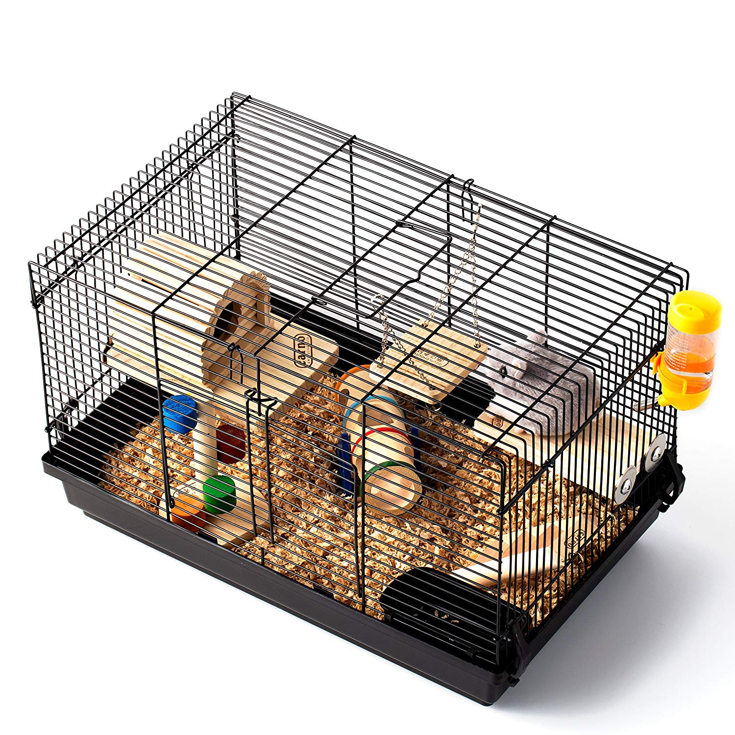 WorldWide Selection Hamster Cage/Hamster Habitat/Small Animal Habitat,Including a Perfect Hamster House and 9 pcs Wooden Toys/Accessories and a Pack of 2.2 lbs 100% Natural Sawdust
