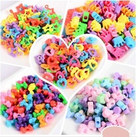 Mix Color Plastic Large Hole Charm Jewelry Pony Beads For Kids Crafts DIY