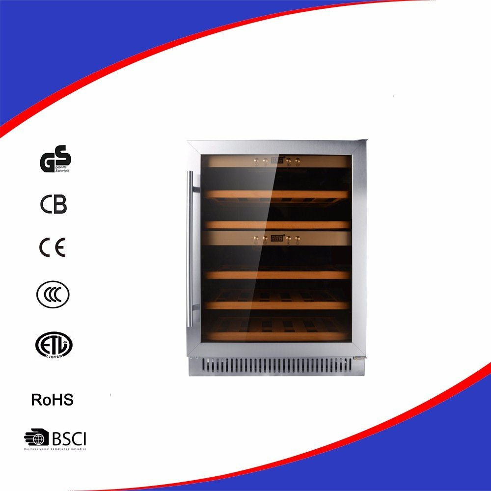Wine Refrigerator Wine Cooler, Wine Chiller, Wine Cellar 40 Bottles Built-In Compressor Stainless Steel & Double Layer Glass Door