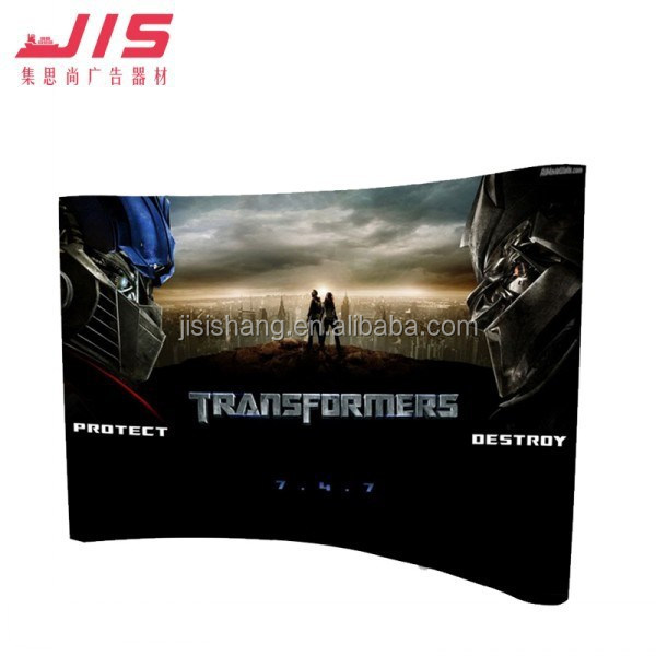 JIS-8-5 2015 Hot sale spring fabric wall disply aluminium pop up sign 3*3 curved pop up banner stand