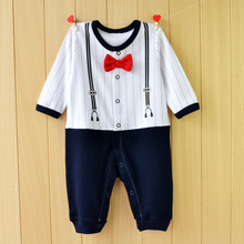 P0095 baby clothes stores Tie long sleeve stripe cool baby boy clothes