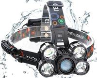 Wholesale 4 Modes Focus Waterproof head lamp 10000LM headlamp 5XML-T6 Rechargeable Headlight LED Head Torch