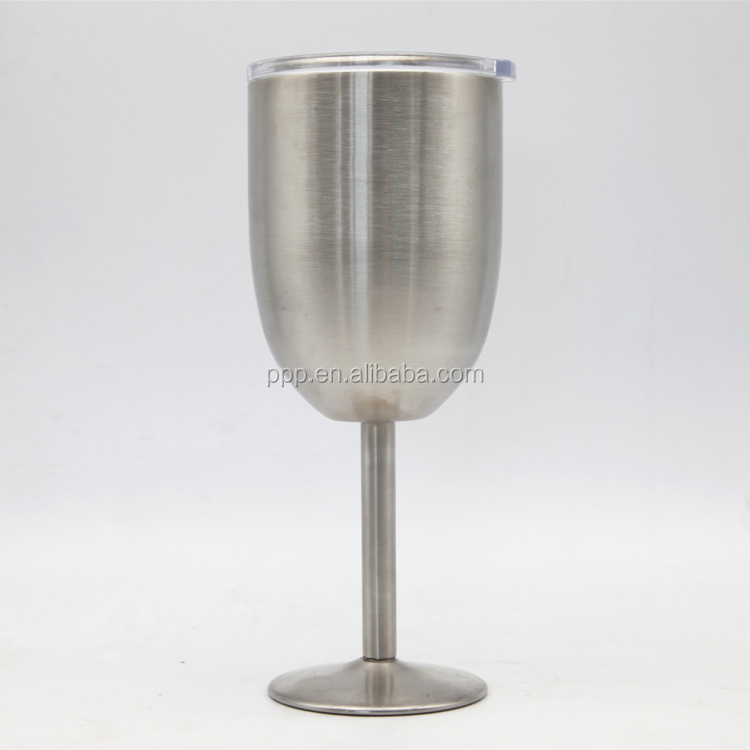2017 new arrival wholesale drinkware smoothy double wall stainless steel red wine glass with stem
