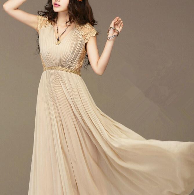 Платье шифон, дамы длинная коктейльный вечернее кружево макси винтажный хаки