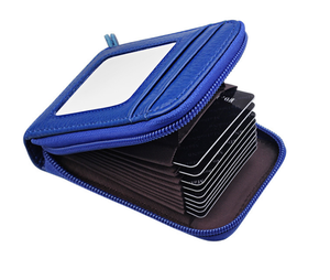 Zipper Genuine Leather Credit Card Holder with RFID Blocking Small Accordion Wallet