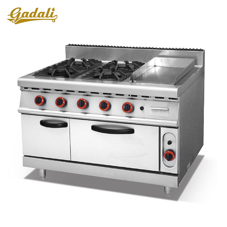 2016 Top quality for Stainless Steel 4 burner gas range with Griddle &gas oven