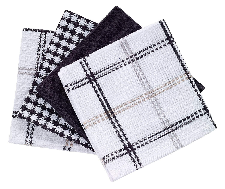 "T-fal Textiles 100% Cotton Waffle Weave Kitchen Dish Cloths,12"" x 13"", Set of 4 Designs, Neutral"