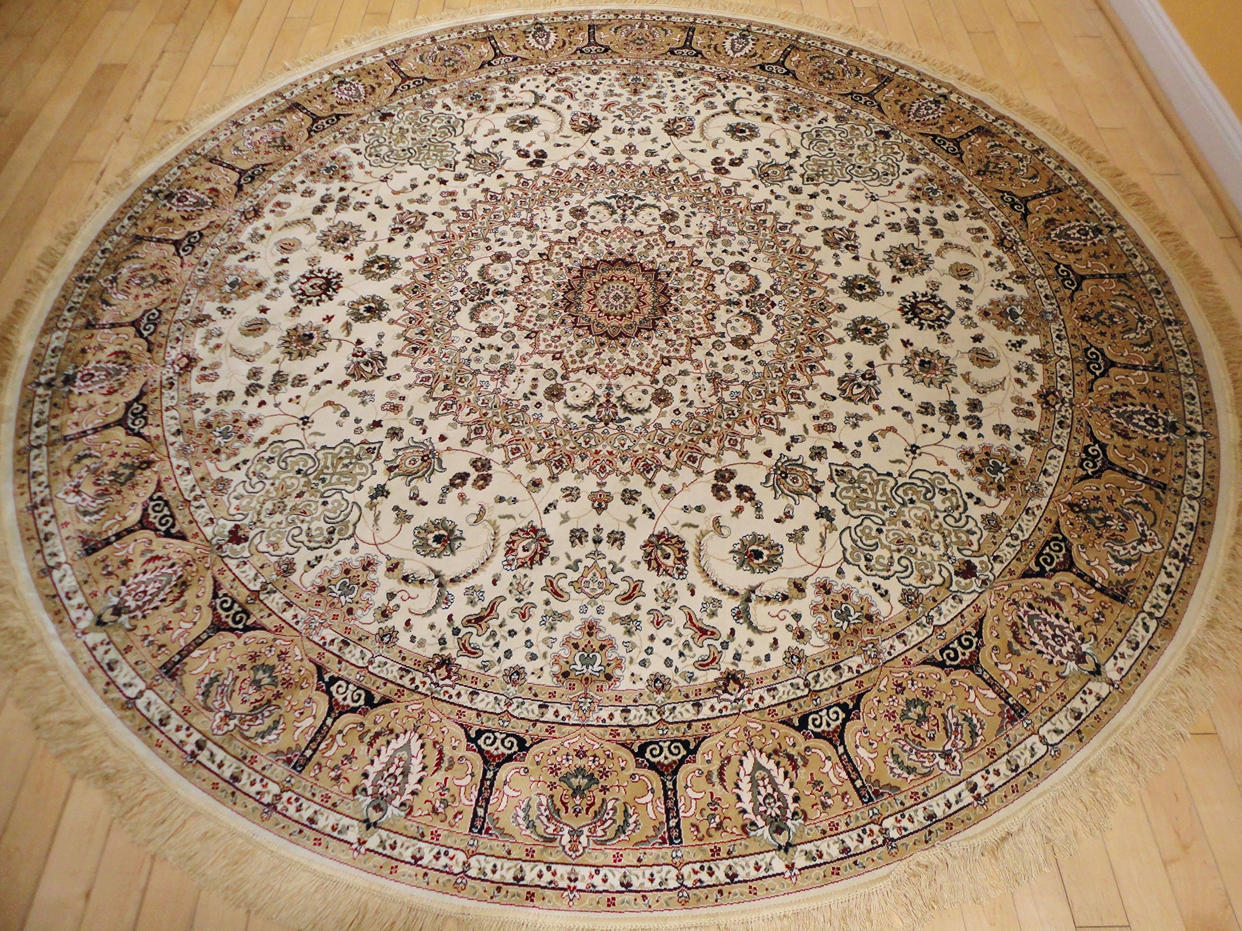 Get Quotations Stunning Silk Rug Persian Traditional Area Rugs Round Shape Living Room Ivory Luxury 8 Foot