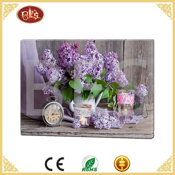 famous chinese purple flower decoration canvas painting