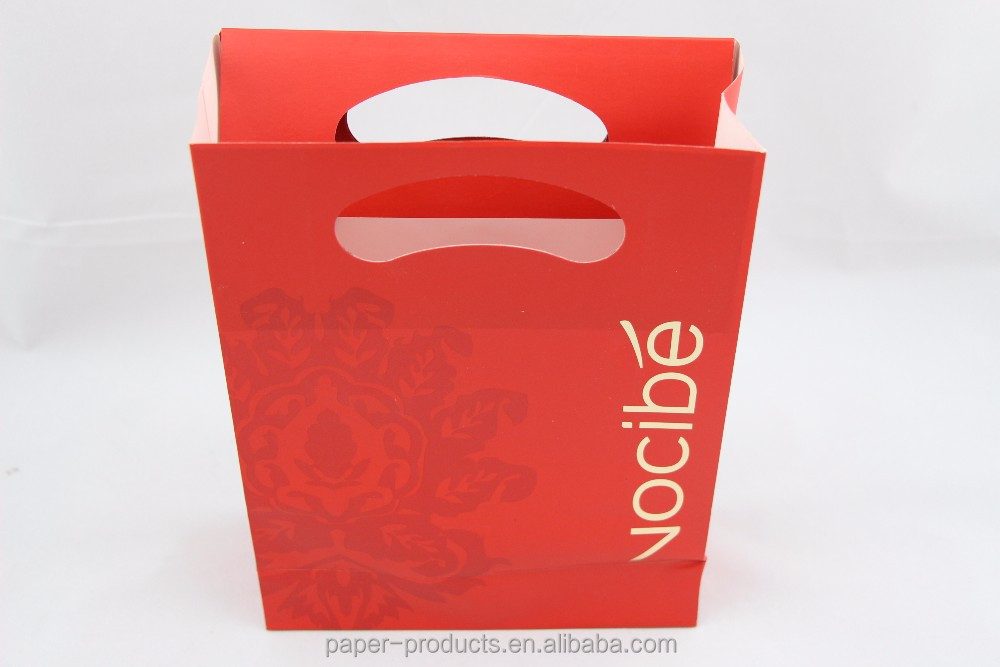Red Luxury Glossy Lamination Foil Gold Gift Paper Bags For Wholesale