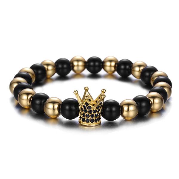 Fashion Copper Bead Cubic Zirconia Crown Bracelet 8mm Matte Agate Micro Pave CZ Imperial Crown Charm Bracelet, Gold;silver;black;rose gold