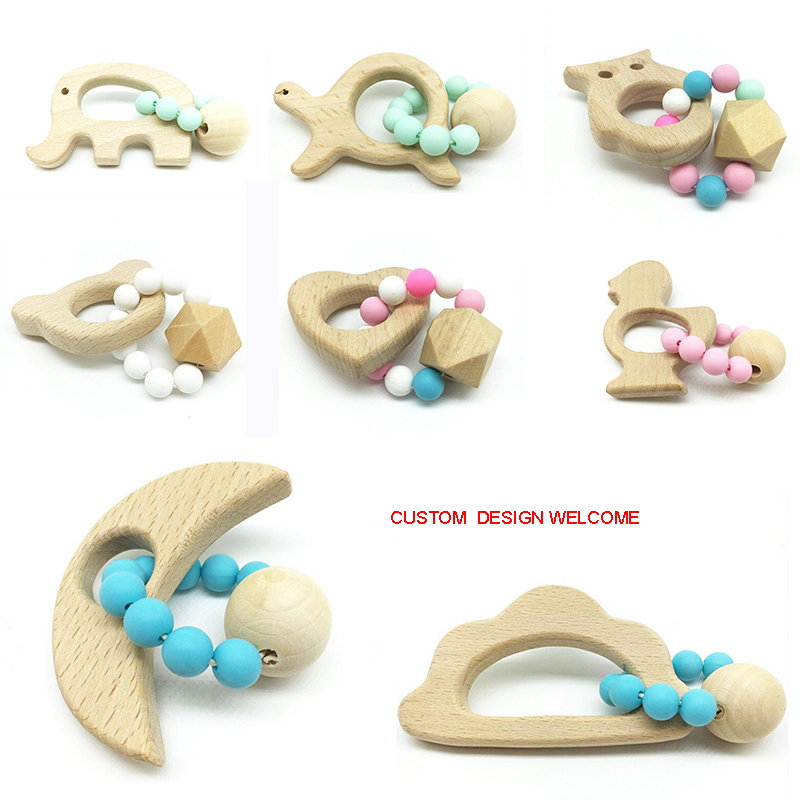 Wholesale Baby Teether Shower Gift Silicone Teether Wooden Teething Rattle Toy
