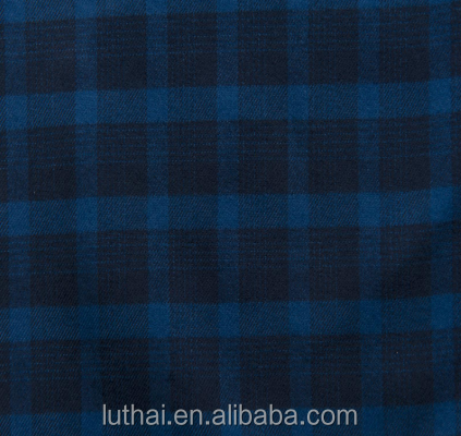 Luthai 100% cotton brushed flannel check fabric for men's shirt
