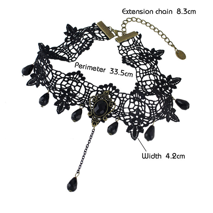 Gothic Style Beads Black Lace Tattoo Choker Necklaces