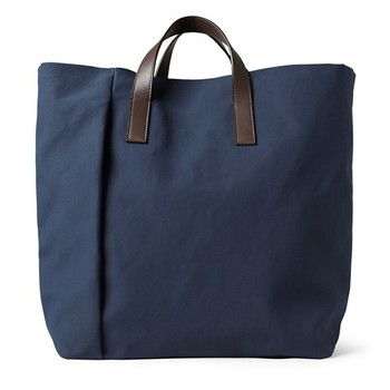 Nylon Strong Navy Blue Large Tote Bag Ping With Pu Handle