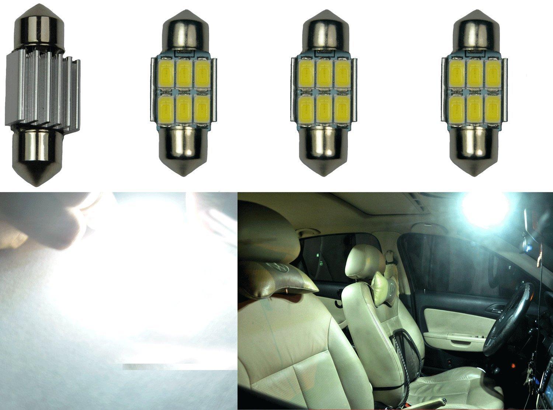 """Cutequeen Trading 4pcs White 600 Lumens 5630 12-SMD 42mm(1.72"""") 12V Festoon Dome Light LED Bulbs 211-2 212-2 569 578 - White (pack of 4)"""