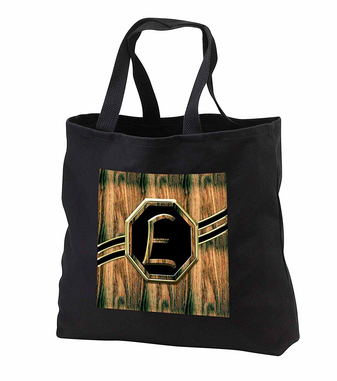 tb_242386 Charlyn Woodruff - CW Designs Monogram Faux Wood - Elegant Faux Gold and Wood Grain Monogram Letter E - Tote Bags