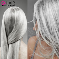 Tangle free shedding free hair extensions grey remy human hair weaving