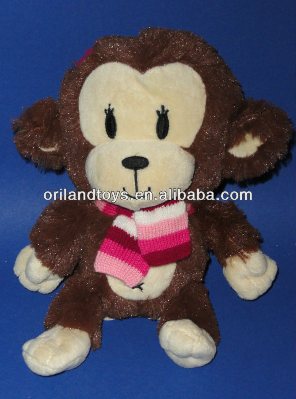 The Childrens Place Plush Brown Girl Monkey Pink Stripe Scarf Sfuffed Toy