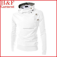100% cotton plain white hoodie with consealed hood for mens
