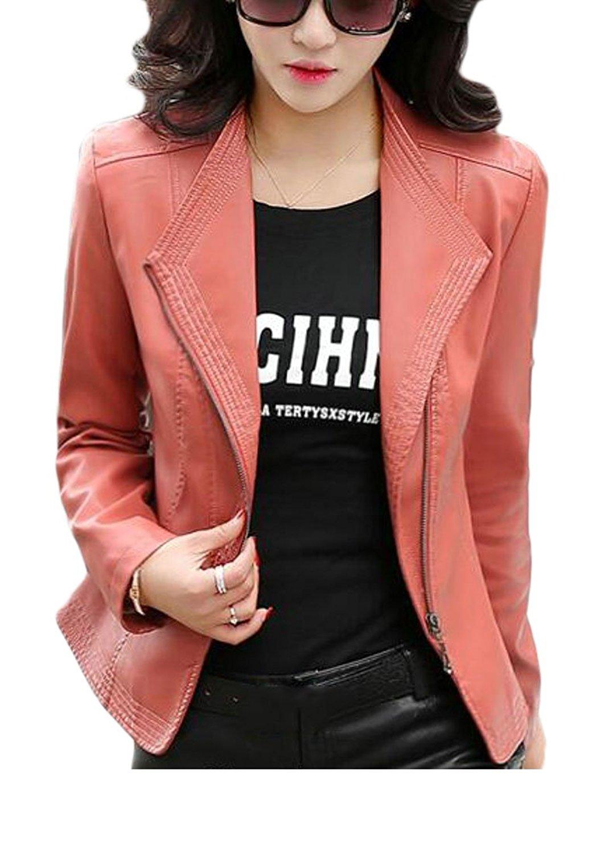 KLJR-Women Plus Size Faux Leather Motorcycle Biker Short Jacket Coat