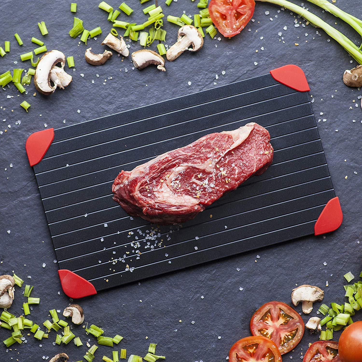 Defrosting Tray with Red Silicone Border - LARGEST SIZE - Quick Thaw Frozen Food Rapidly and Safely FDA Approved - Keto/Paleo / Atkins Tool