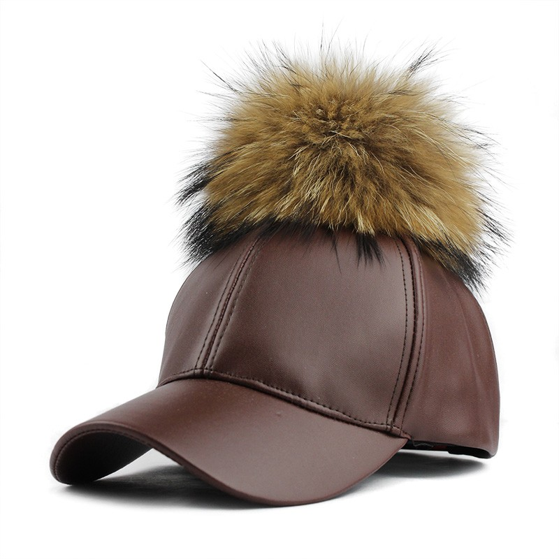 fc69bd55289 Wholesale PU Leather Baseball Female Cap With Real Mink Pom Poms ...
