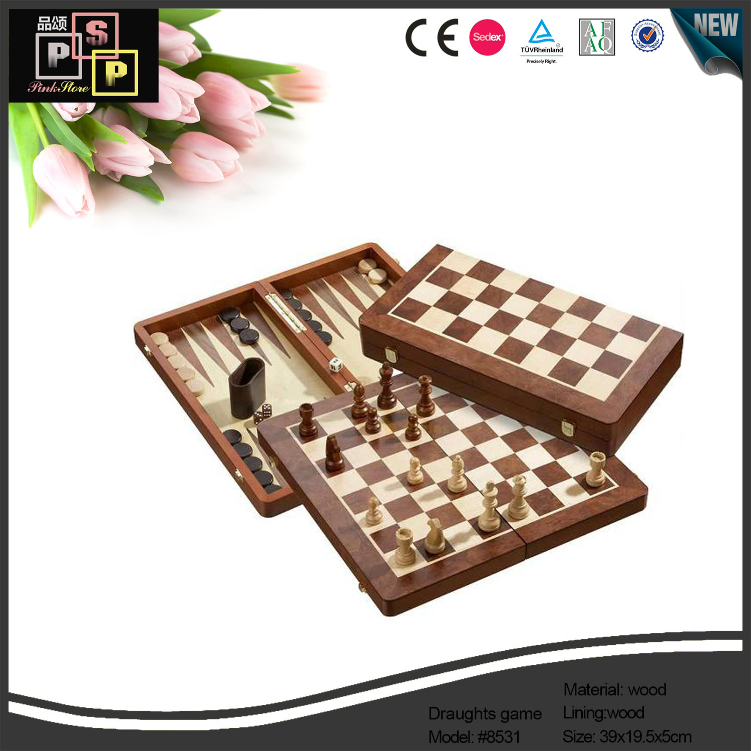 Custom handmade High End Excellent Standard Wood Draughts Antique Game Set