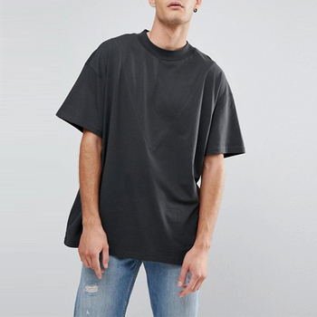 Cheap custom oversized cut and sew black t shirts