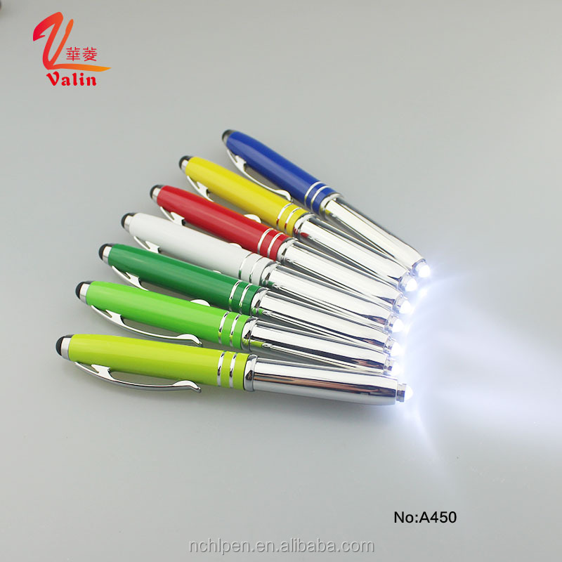 Valin new cheap customized pen with logo promotional metal ball pen LED pen with touch rubber