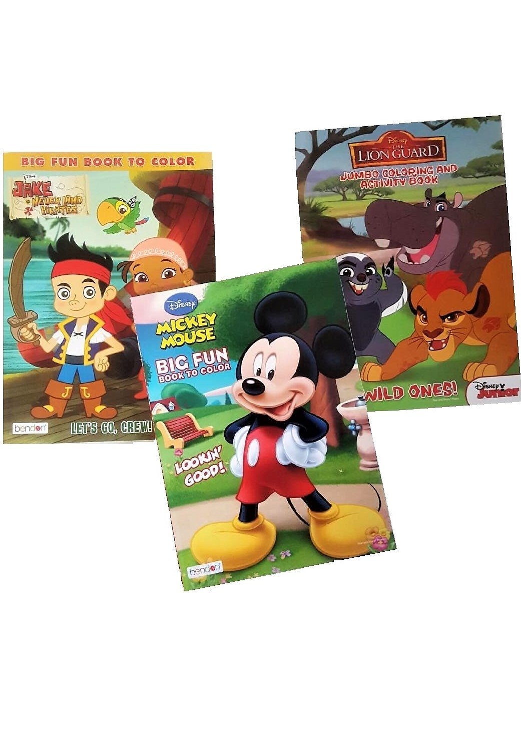 Disney Junior Coloring And Activity Book Assortment Mickey Mouse The Lion Guard Jake Never Land Pirates 3 Books 96 Pgs Each
