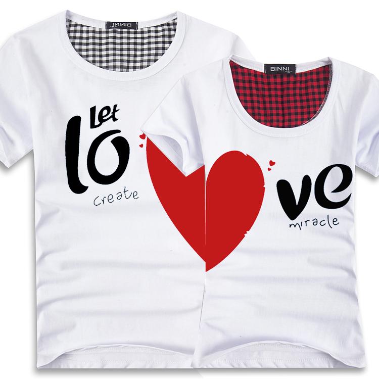 Couples Men & Women Heart LOVE T Shirts Printing100 ...