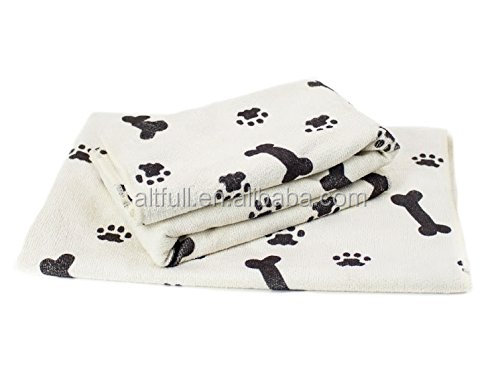 "China supplier Large Microfiber Pet Towel or Blanket (Size: 30"" x 36""), 2-Pack Soft Terry Cloths, White/Black"