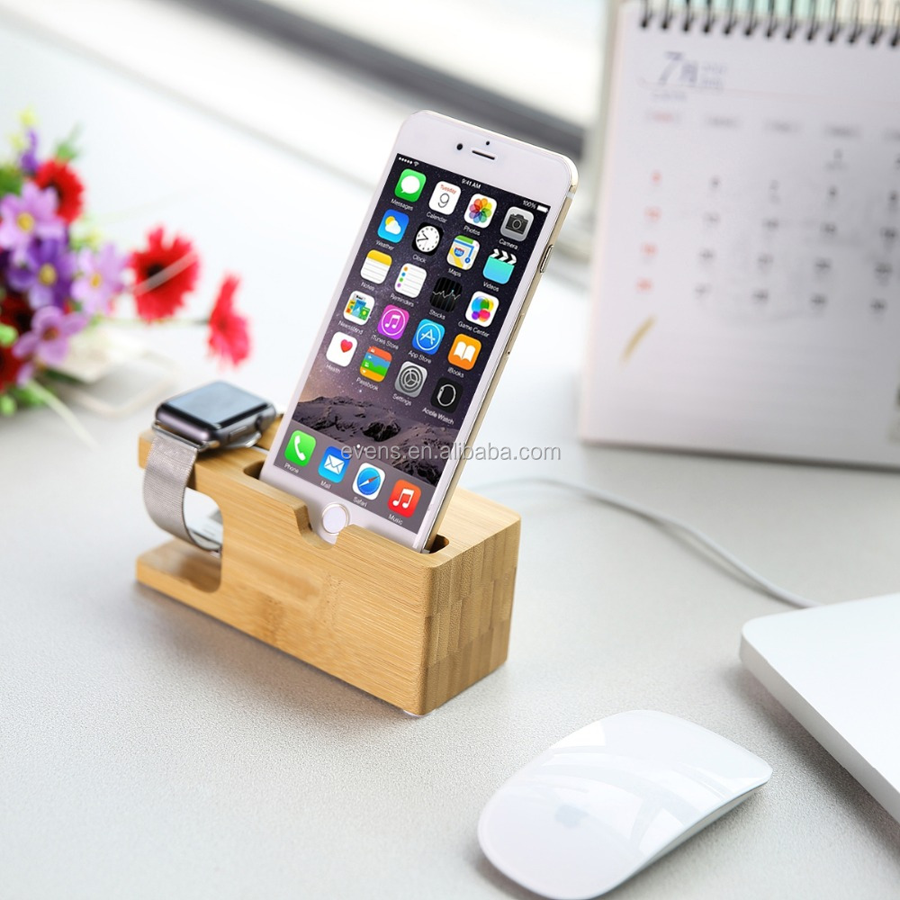 Bamboo Wooden Charging Dock Stand Phone Holder For iPhone 6S PLUS 6 5s for i Watches