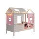 2018 Solid Wood Pink Girls Bedroom Sets Luna Cabin Kids House Frame Bed with Trundle Bed and Flower Tent