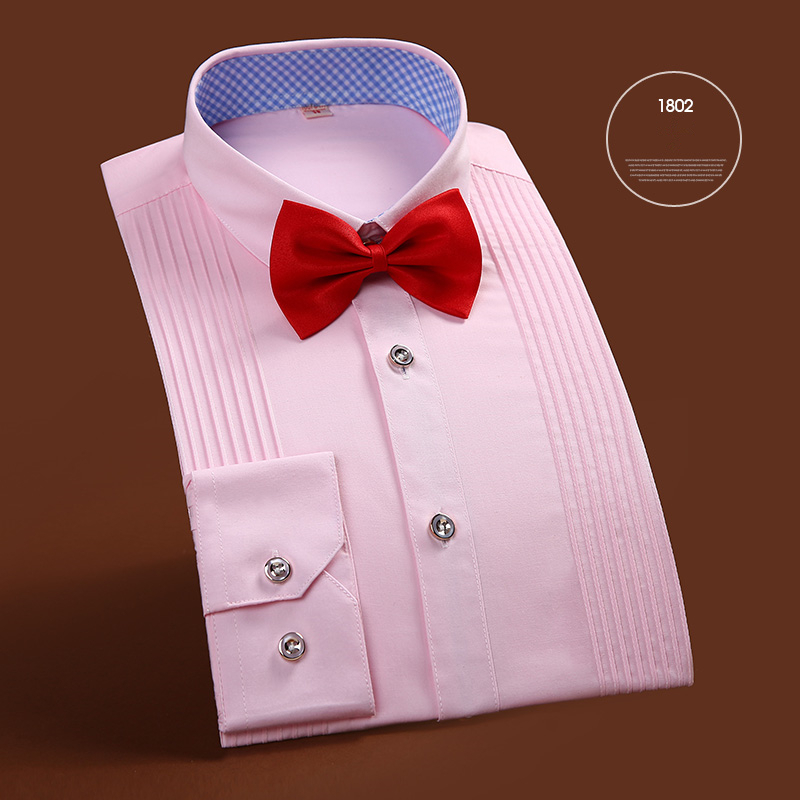 Quality Brand Mens Clothes French Style Wedding Tuxedo Shirt Mens Dress Shirts Groom Long Sleeve Shirts