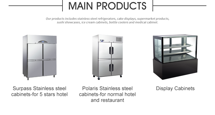 Stable quality competitive price two Doors Upright Refrigerated Cabinets with shelves