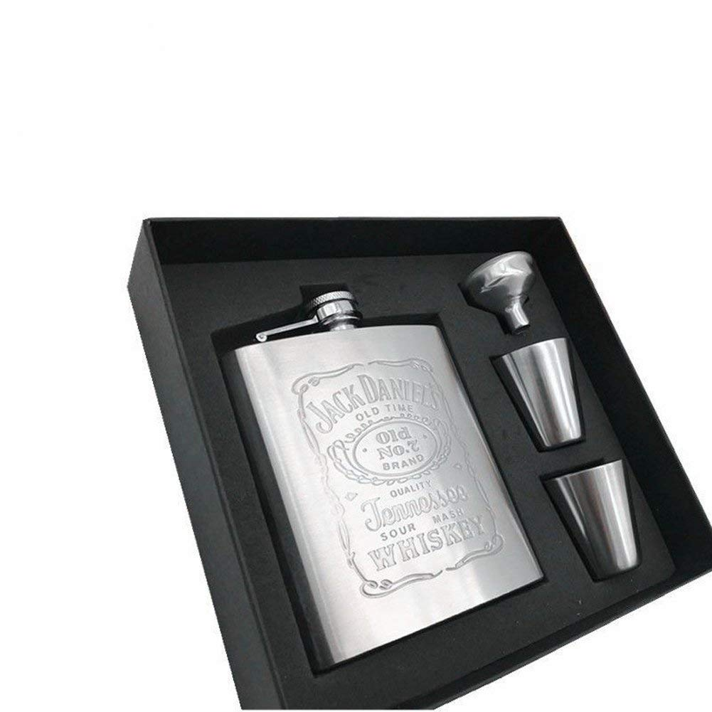 Hip Flask Stainless Steel Flask Funnel Set Leakproof 7 oz Whiskey Flask Vodka Alcohol Flask, Hip Flask, Flask with Easy Pour Funnel 2 Cup Perfect Gift Box for Men