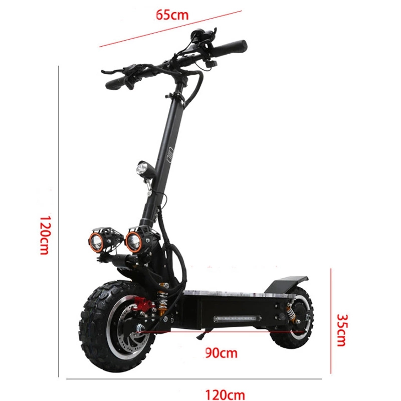 YUME 11inch 60v 3200W dual motor folding powerful off road adult electric scooter with removable seat, Black for big powerful electric scooter