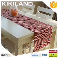 Vintage Handmade Linen Printing Table Runner/Red Chevron Table Topper