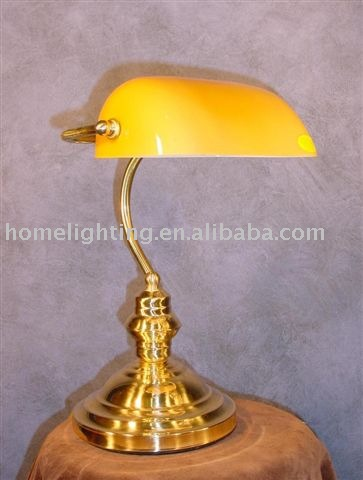 G-186y Bankers Brass Amber Book Lamp