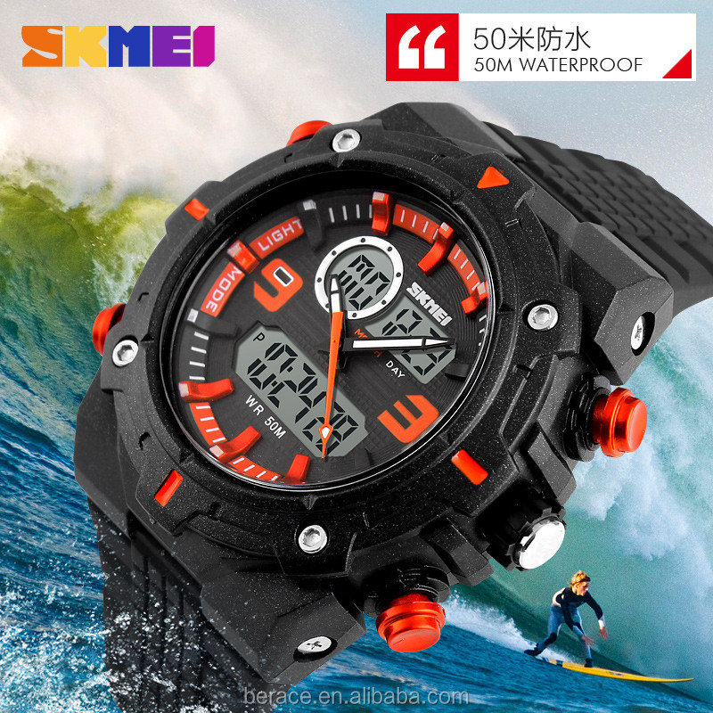 SKMEI Hot Selling Double Movement digital sports watch black orange digital watch