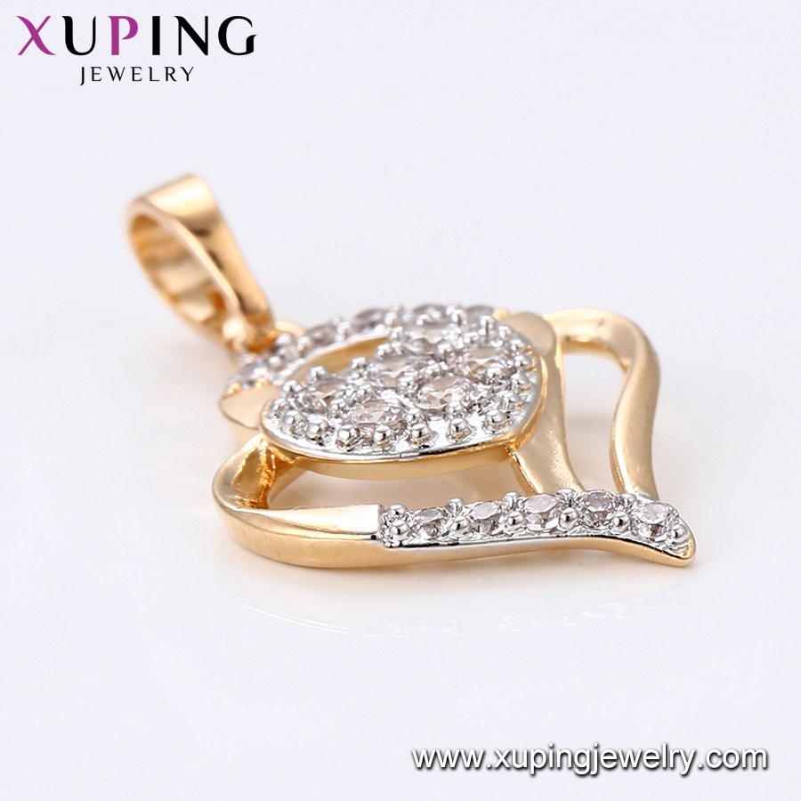 33554 xuping two tone gold plated heart Synthetic CZ custom pendant
