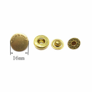 16mm Gold Plating Metal Snap Button Spring Press Stud