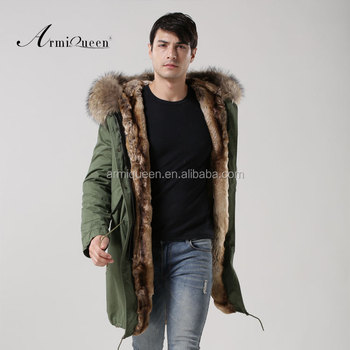 2017 Mens Military Green Long Style Winter Parka Natural Color Faux Fur Lined Jacket With Real