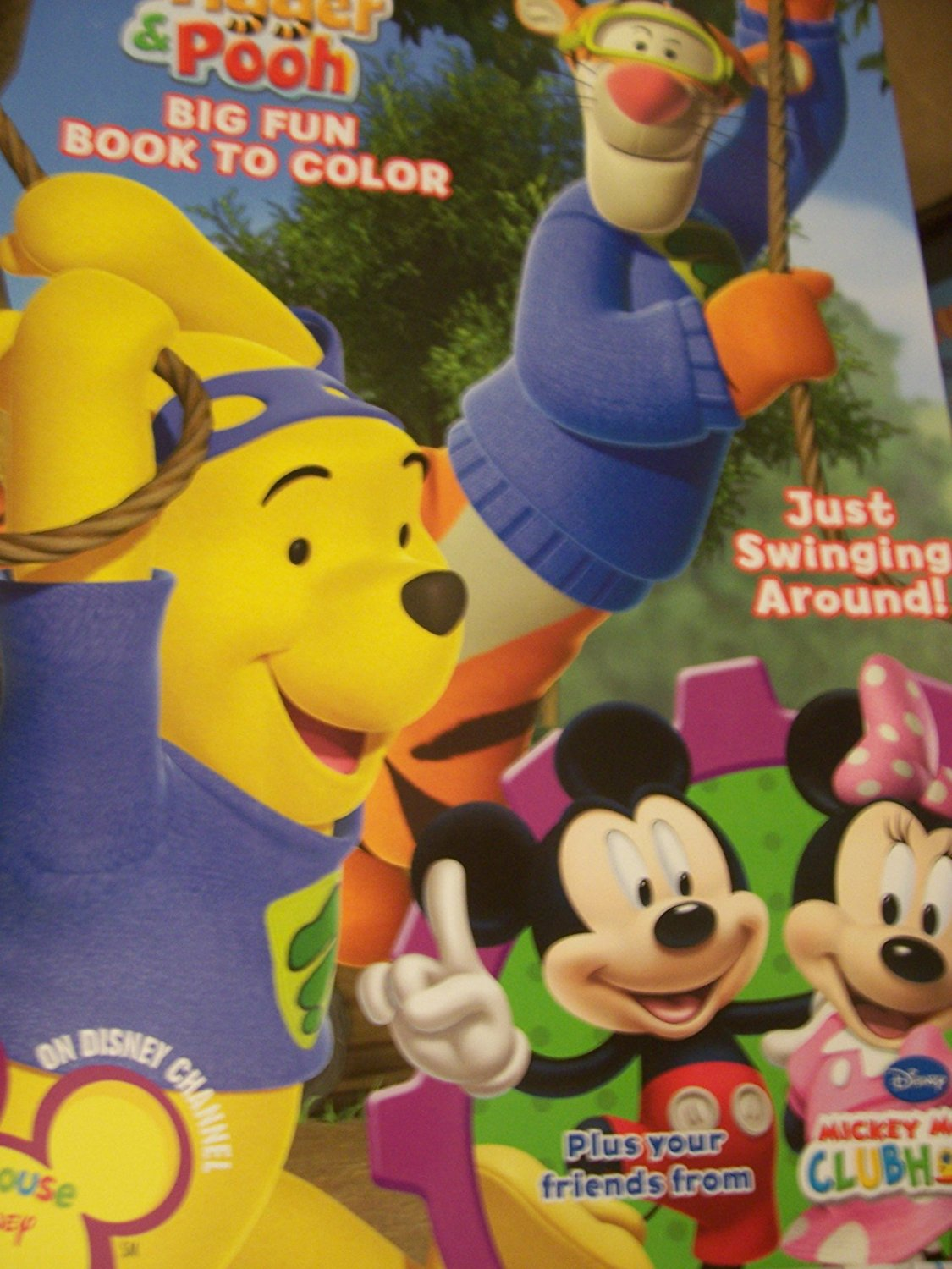 Disney Dual Book featuring My Friends Tigger & Pooh Big Fun Book to Color & Mickey Mouse Clubhouse ~ Swinging Around